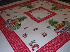 VINTAGE COTTON SQUARE TABLECLOTH FRUIT CHERRIES PINEAPPLE RED MULTI COLOR NICE