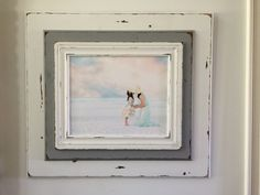 White and gray distressed picture frame.  3 by GCarawayFrames