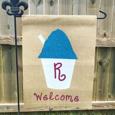Glitter Snoball Welcome Garden Flag Personalized With Last Name Initial Monogram Louisiana NOLA Themed Snowball by CraftySouthernNurse on Etsy https://www.etsy.com/listing/281572610/glitter-snoball-welcome-garden-flag