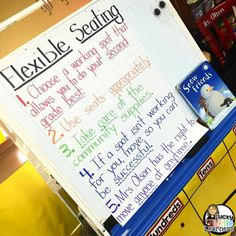 I made an anchor chart with the most important rules and for the first week of implementing flexible seating, we revisited this anchor chart every morning.  It is also important to stick to these rules, be firm, be fair, and be consistent.  The kids need to feel that it is a privilege to have this type of set up and they need to know that you mean business.