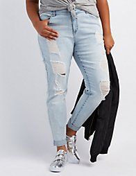 "Plus Size Refuge ""Boyfriend"" Destroyed Jeans 