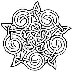 "Celtic knotwork graphic adapted from a traditional pattern. The pentacle star is woven into the design itself instead of the knotwork design being a ""frame"" for the star. Geometric Coloring Pages, Flower Coloring Pages, Mandala Coloring Pages, Coloring Book Pages, Celtic Mandala, Celtic Art, Celtic Tribal, Mandalas Drawing, Celtic Symbols"