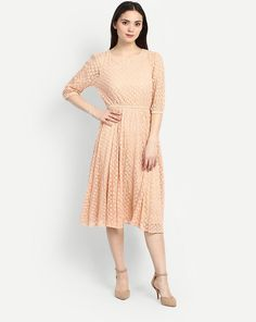 5b4e05a07322e Buy Beige Dion Lace Skater Dress Online at StalkBuyLove