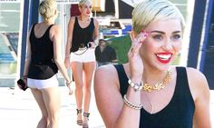 Miley Cyrus showcases her long legs in tiny hotpants as she steps out without her engagement ring after 'postponing wedding' ! Miley And Liam, Stepping Out, Long Legs, Miley Cyrus, Beautiful Creatures, Thursday, Singer, Engagement Rings, Mail Online