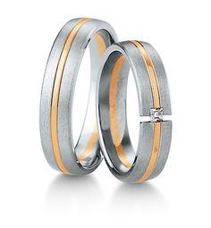 Breuning Trouwringen | Inspiration collectie gouden ringen | 5,0mm briljant prinses 0.06ct verkrijgbaar in 8,14 en 18 karaat | DR 48041610 / HR 48041620 OOK in wit geel en rood goud verkrijgbaar of in 2 kleuren goud #trouwringen #breuning #trouwen