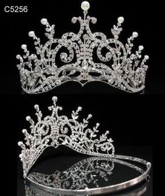 Leaey-Spray Tiara 1905 English Crown Bridal LEAFY-SPRAY TIARA 1905 ENGLISH Crown Tiara Bridal The Curved Base of the tiara rises toward the center, which is surmounted by volutes flanked on each side