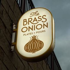 The Brass Onion Brand Identity, Packaging & Interior Direction by Carpenter Collective - Grits & Grids® Logo Restaurant, Bar Restaurant Design, Pizzeria Design, Identity Design, Brand Identity, Branding And Packaging, Corporate Branding, Storefront Signage, Designers Gráficos