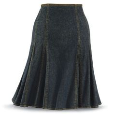 Denim Gore and Godet Skirt - New Age, Spiritual Gifts, Yoga, Wicca, Gothic, Reiki, Celtic, Crystal, Tarot at Pyramid Collection