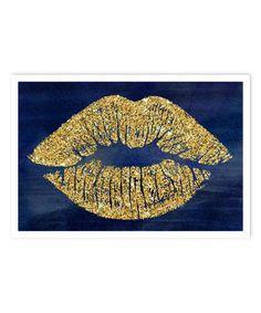 Look what I found on #zulily! Navy Glitter Solid Kiss Art Print #zulilyfinds