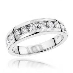 Luxurman 14k Gold Men's 1 1/10ct TDW Diamond Wedding Ring (H-I, SI1-SI2) (14K White Gold Size 7) (solid)