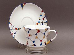 KALEIDOSCOPE TEA CUP AND SAUCER Lomonosov Porcelain Factory.