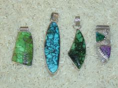Carico Lake, Chinese turquoise, Snowville Variquoise, and Sugilite with Snowville Variquoise pendants by Colorado Jewelrydude.