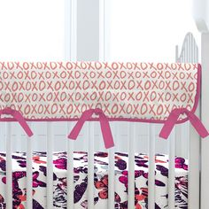 Butterfly Kisses Crib Rail Cover (Reverses to the butterfly print!)