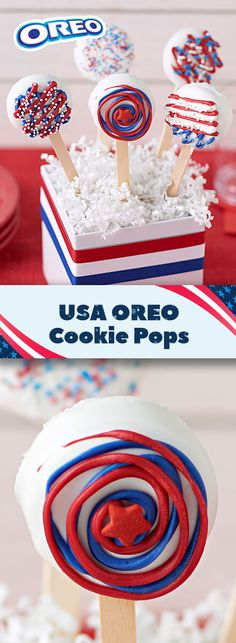Serve these handy USA OREO Cookie Pops at your Olympic Winter Games watch party for an easy way to cheer on Team USA! This recipe also makes a fantastic snack table centerpiece. Great for a crowd. 15 mins prep makes 12 cookie pops!