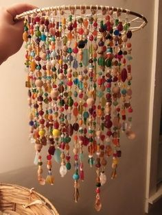 Rock Crafts, Diy And Crafts, Arts And Crafts, Hippy Room, Diy Wind Chimes, Hanging Beads, Beaded Curtains, Boho Diy, Bead Art