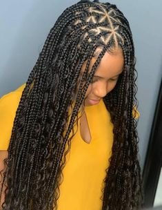 Brick House with Long Golden Braids box braids provide more versatility, thinner braids can be manipulated into many different casual looks easy to wear! Perfect Box Braids Now that you know perfect box braids Braids With Curls, Braids With Beads, Braids Wig, Girls Braids, Twist Braids, Long Braids, Braids Easy, Dutch Braids, French Braids