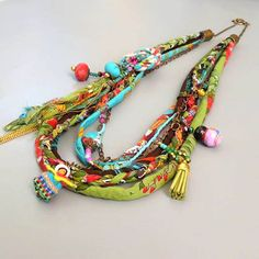 Boho fabric necklace by Liat Kires