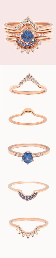 Anna Sheffield Hazeline Round Sapphire engagement ring with stacking diamond and seed pearl nesting wedding bands