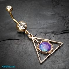 Golden Galaxy Triangle Belly Button Ring