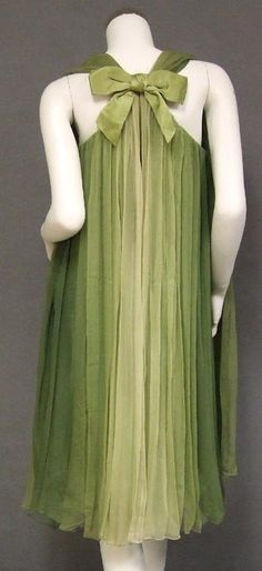 Vintage Sarmi Fluttering Green Ombre Dyed Chiffon 60's Cocktail Dress...gorgeous pleating!