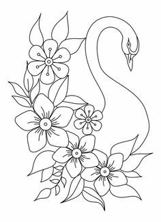 Embroidery Flowers Pattern, Cute Embroidery, Hand Embroidery Designs, Outline Drawings, Easy Drawings, Painting Patterns, Fabric Painting, Peacock Drawing With Colour, Glass Painting Designs