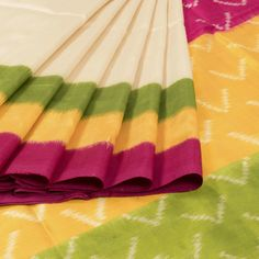 Sarveshi White Handwoven Ikat Silk Saree Multi Colour Border 10007746 - AVISHYA