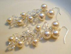 Cascading Pearl Wedding Earrings