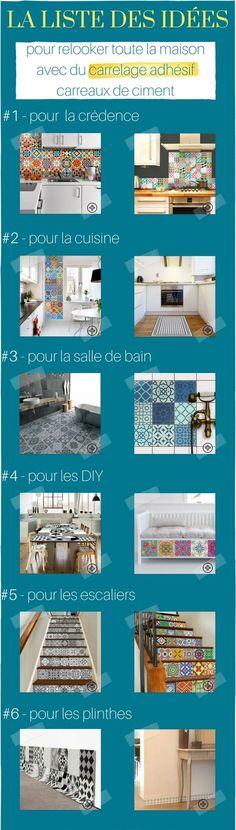 Good La Liste Des Ides Pour Relooker Avec Du Carrelage Adhsif Carreaux De  Ciment With Dosseret Autocollant