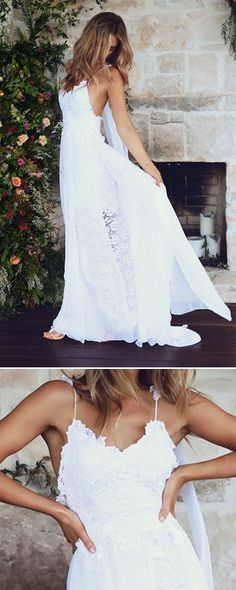 This lacey, open back wedding dress is the stuff of boho dreams.