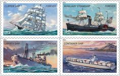 On 31 July 2011, the U.S. Postal Service salutes the U.S. Merchant Marine by issuing 60 million Forever stamps, featuring types of vessels that have formed an important part of merchant marine history. They are clipper ships, auxiliary steamships, Liberty ships and containers ships.