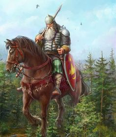 ".Svyatogor is the giant-warrior in Russian mythology and folklore. His name is a derivation from the words ""sacred mountain"". He and his mighty steed are so large that, when they ride forth, the crest of his helmet sweeps away the clouds."
