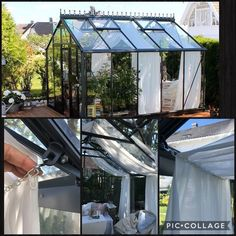 Gardiner i drivhus/curtains in the greenhouse Backyard Greenhouse, Small Greenhouse, Greenhouse Ideas, Sensory Garden, Cafe Interior Design, Garden Office, Glass House, Pool Houses, Patio Design