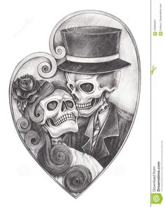 Art Skull Day Dead Hand Drawing Stock Illustration 148662632 Skull in love day . - Art Skull Day Dead Hand Drawing Stock Illustration 148662632 Skull in love day … Art Skull Day - Sugar Skull Tattoos, Sugar Skull Art, Skull Couple Tattoo, Hand Pencil Drawing, Pencil Drawings Of Love, Art Sketches, Art Drawings, Tattoo Drawings On Paper, Drawings Of Hearts