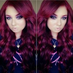 Reddish burgundy dark red purple long hair raspberry