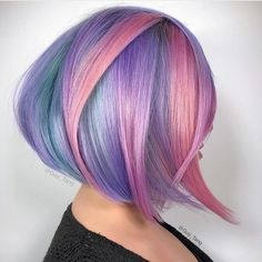Vibrant Pastels Want to pull off unicorn hair? A basic tutorial on how to color your hair rainbow ombre peekaboo highlights and pastel ideas are waiting for you! Hair Color 2017, Bob Hair Color, Vivid Hair Color, Color Your Hair, Hair Color And Cut, Hair Colors, Black Ponytail Hairstyles, Cool Hairstyles, Hairstyles Haircuts