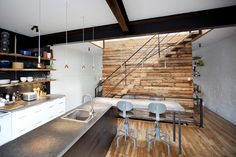 Gorgeous reno pulled off with reclaimed materials! Basement Shelving, Basement Remodeling, Laminate Flooring, Barn Wood, Architecture Design, Sweet Home, House Design, Interior Design, House Styles