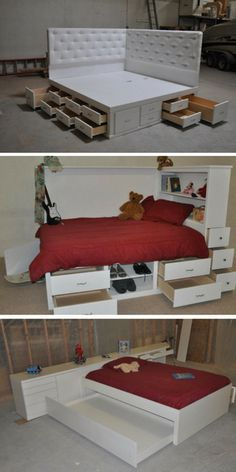 Decorate your room in a new style with murphy bed plans Murphy Bed Ikea, Murphy Bed Plans, Bed Storage, Bedroom Storage, Beds With Storage, One Room Apartment, Apartment Therapy, Bedroom Furniture, Bedroom Decor