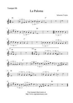 La+Paloma+free+trumpet+sheet+music+notes.png (1131×1600)
