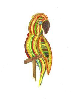 Parrot of Caribbean Original TriColor Pencil Drawing by rostudios, $25.00