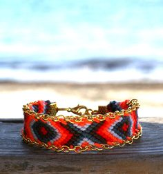 Chain Trimmed Friendship Bracelet. Hot Red. by makunaima on Etsy
