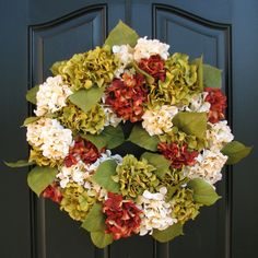 Harvest Wreath, Autumn Leaves, Fall Wreaths, Fall Hydrangeas, Front Door Wreaths, Holidays, Oktoberfest, Hydrangea Wreath