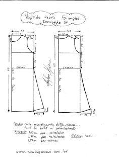 Esquema de modelagem de Vestido Regata Simples.