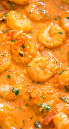 This Shrimp in Roasted Pepper Sauce is lip-smacking good! Roasted bell pepper paired with cream and Parmesan cheese create a unique and delicious sauce. #shrimp #seafood #dinner #lunch #Italian #recipe Shrimp Dishes, Shrimp Recipes, Fish Recipes, Gourmet Recipes, Cooking Recipes, Healthy Recipes, Flour Recipes, Bread Recipes, Seafood