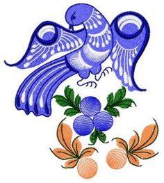 Blue firebird machine embroidery design. Machine embroidery design. www.embroideres.com