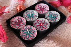 New henna tea lights set is available in my Etsy store / Hand painted henna candles