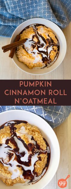 This easy Pumpkin Cinnamon Roll N'Oatmeal makes a delicious holiday alternative to oatmeal for breakfast, snack, or treat. :) Yum!