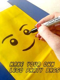 21 LEGO Party Ideas - Take a look at how easy you can achieve a totally unique Party for your kids who are into LEGO on a budget.DIY Lego Party Bags with Smiley Face.                                                                                                                                                                                 More