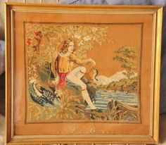 ANTIQUE TAPESTRY NEEDLEPOINT DATED 1845 BOY BIRDS ORIGINAL FRAME