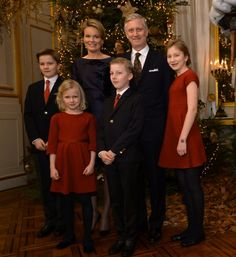(From L) Prince Gabriel, Queen Mathilde of Belgium, Princess Eleonore, Prince Emmanuel, King Philippe - Filip of Belgium and Crown Princess Elisabeth pose during the yearly Christmas Concert, at the Royal Palace, in Brussels, on December 16, 2015.