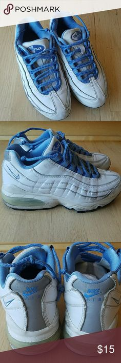 Nike air max running shoes White leather with pale blue accents Really good condition, looks like we stepped on some gum, cleaned it up as best I could, soles are still in great shape otherwise. Nike Shoes Sneakers